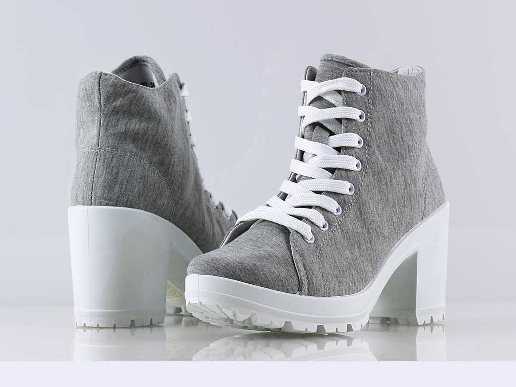 Lblg02 Szare Trampki Na Obcasie Za Kostke 36 41 Sneakers Shoes Fashion