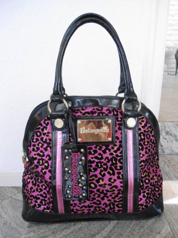 b7adb794161f Betseyville Handbag Black and Pink Leopard Print Purse, Vintage Designer  Purse, Betsey Johnson Bag on Etsy, £33.46