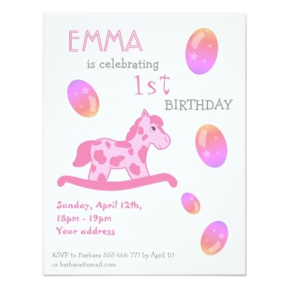 Pink rocking horse kids birthday party card birthday cards pink rocking horse kids birthday party card birthday cards invitations party diy personalize customize celebration negle Image collections