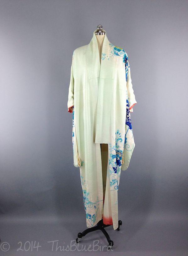 Vintage Silk Furisode Kimono   Mint Green Blue Floral Print   Wedding Kimono   kimono   a913f79a4