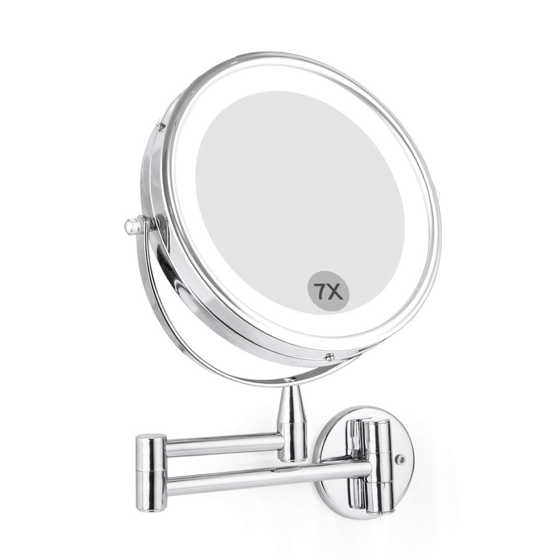 Wall Mounted Led Magnifying Mirror 7x Makeup 8 Lighted Double Side