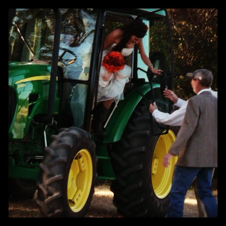 """Our country wedding.  That's right...I rode in on a tractor (While """"Big Green Tractor"""" was playing)!!  #johndeeregreen #countrywedding"""