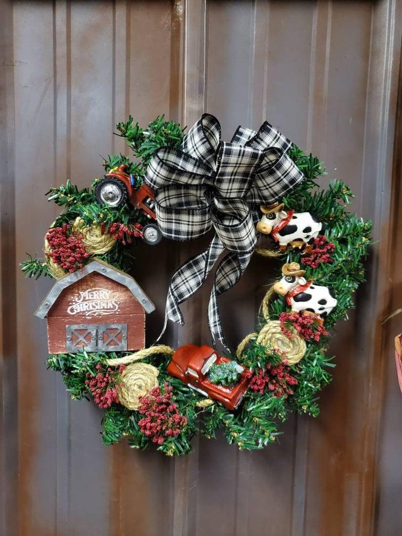 Christmas on the farm wreath Farmhouse country truck