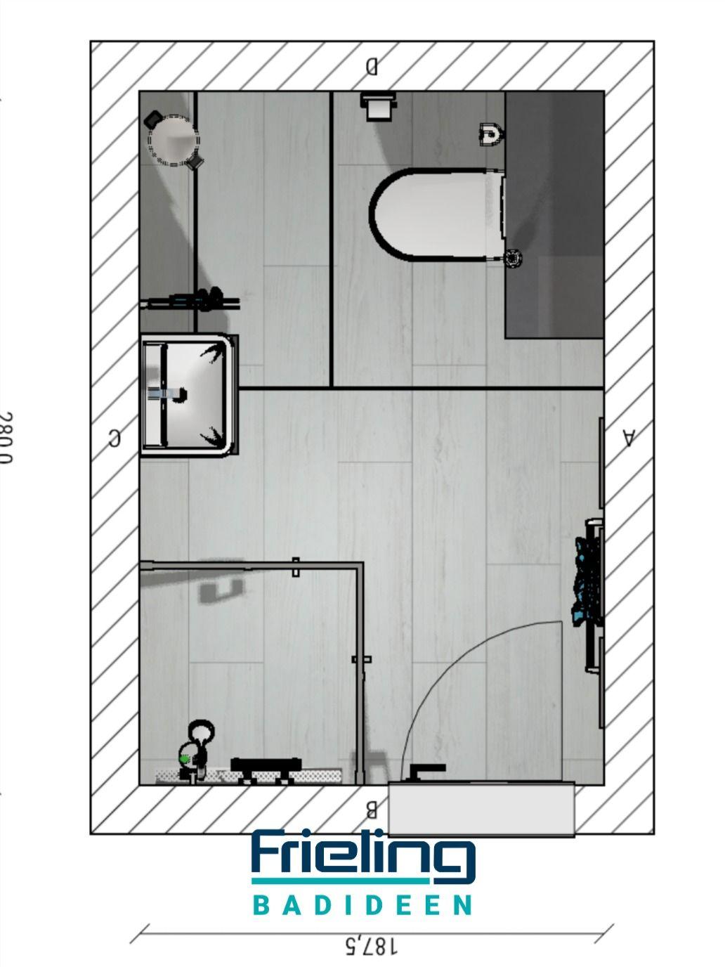 Das Kleine Bad Mit Schrage 3d Planung Vogelperspektive In 2020 Bad Grundriss Ebenerdige Dusche Badezimmer Grundriss