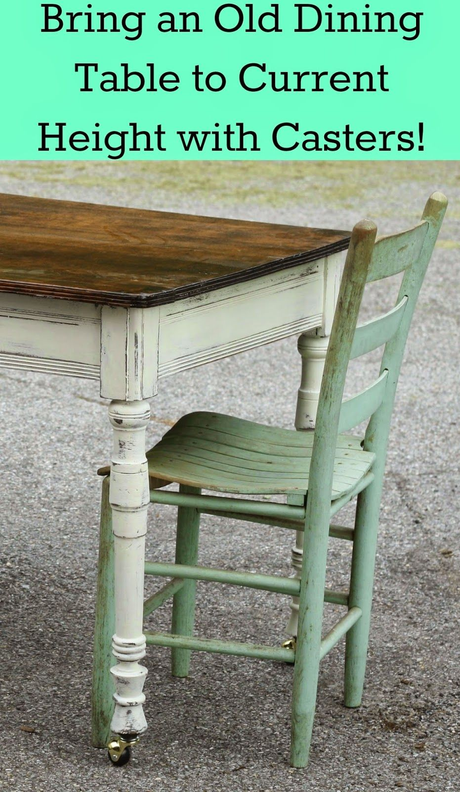 charming farm table makeover with added height from casters rh pinterest com