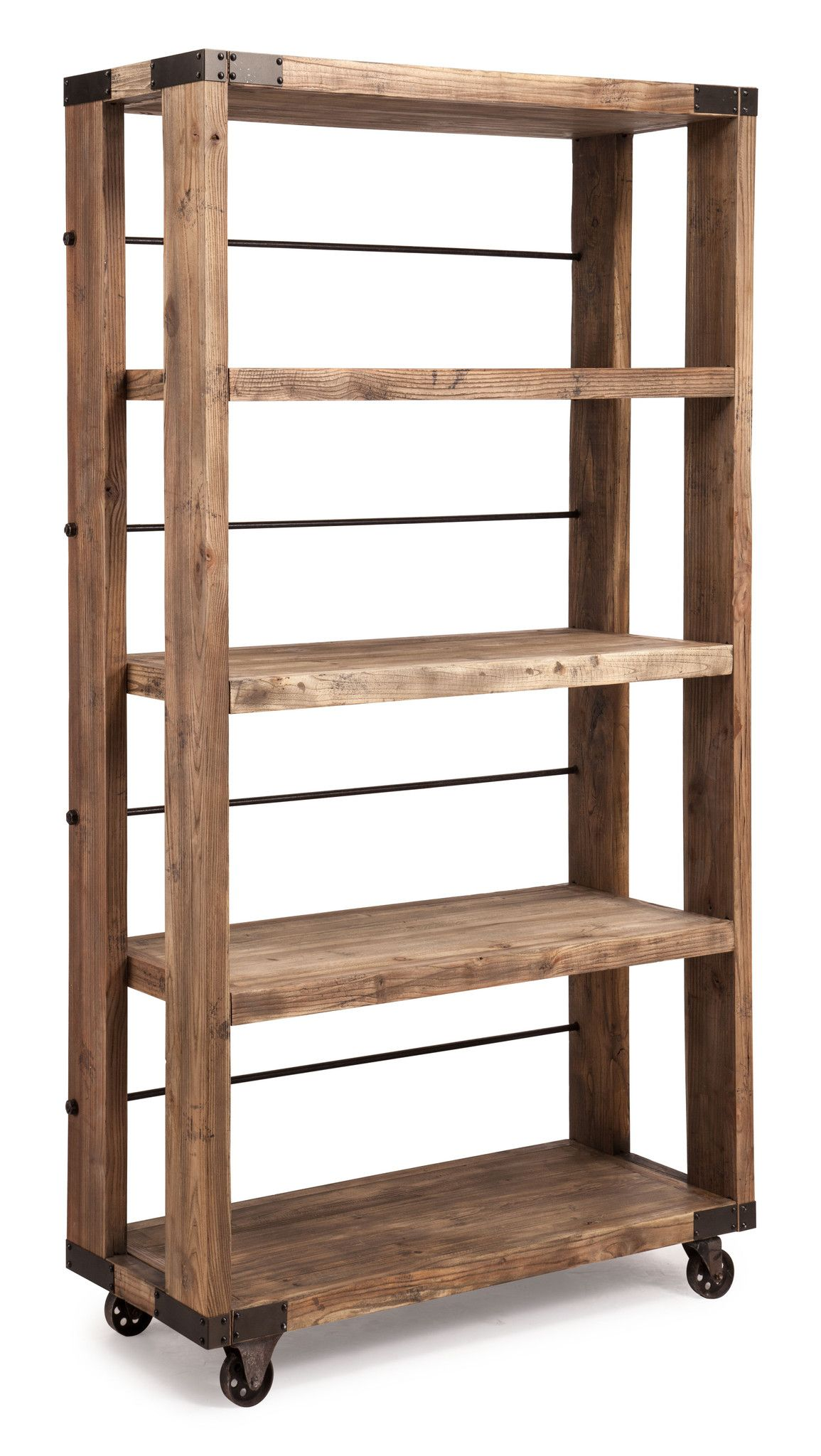 Attrayant Store Your Goods In Style With The Newcomb Shelving Unit. Made From  Distressed Natural Wood With Metal Accents, The Newcomb Shelf Houses 4  Levels Of Storage ...