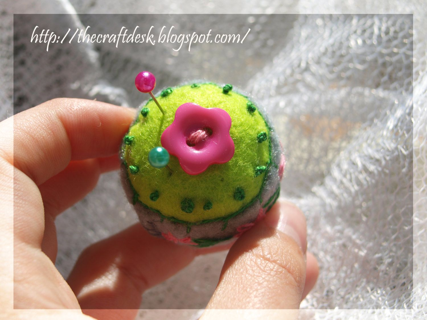 Miniature pincushion - CACTUS - 100% wool felt mini cushion for pins , bottle cap ,  recycled , thecraftdesk by TheCraftDeskShop on Etsy