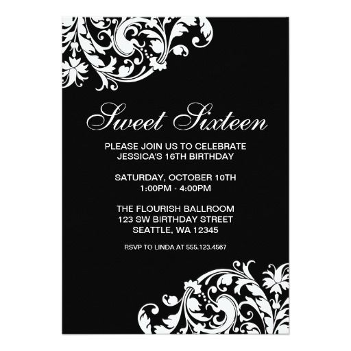 Black and White Swirl Flourish Sweet 16 Birthday Card Sweet 16 - best of invitation card birthday party