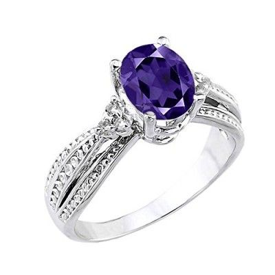 Rings, Claddagh Gold, 10k White Gold Diamond-Accented Band Oval Amethyst Engagement Ring (Size 4)