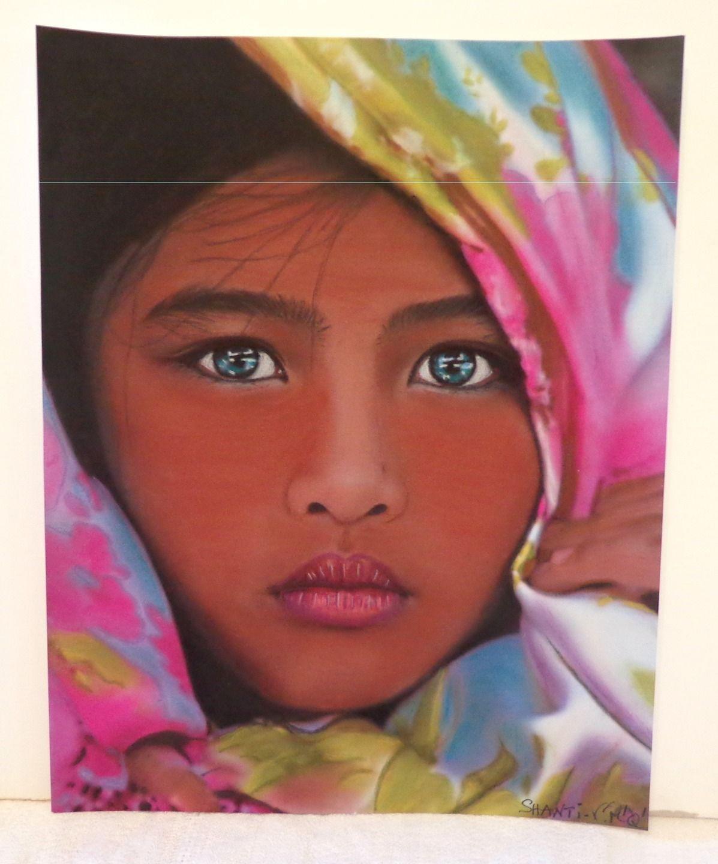 Peinture au pastel pour tableau boh me ethnique indien portrait shanti peint a la main - Peinture au pastel sec ...