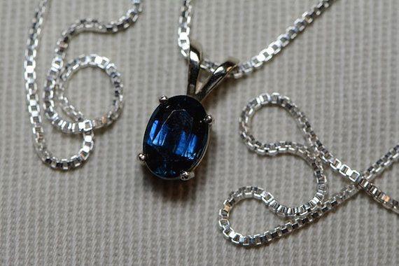 Sapphire Necklace 14K Gold Sapphire Pendant 1.00 by SilverJewelery