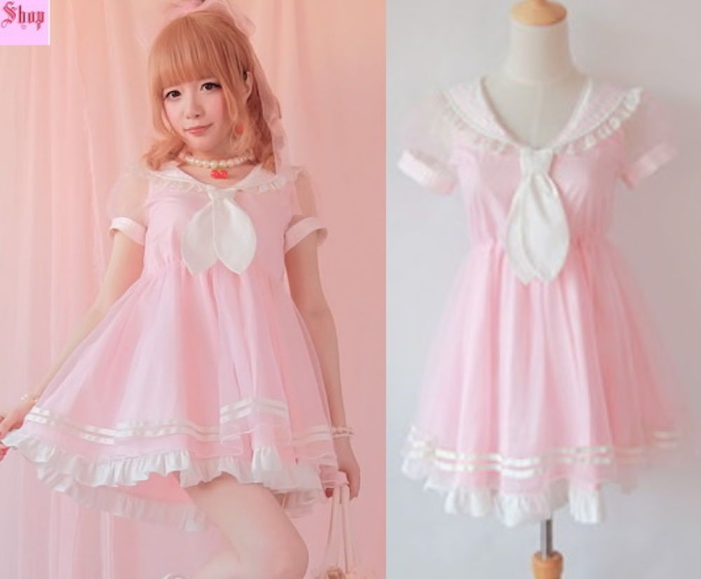 Girls Princess Dolly Lolita Kawaii Party Sweet crew neck Dress + Tie ...