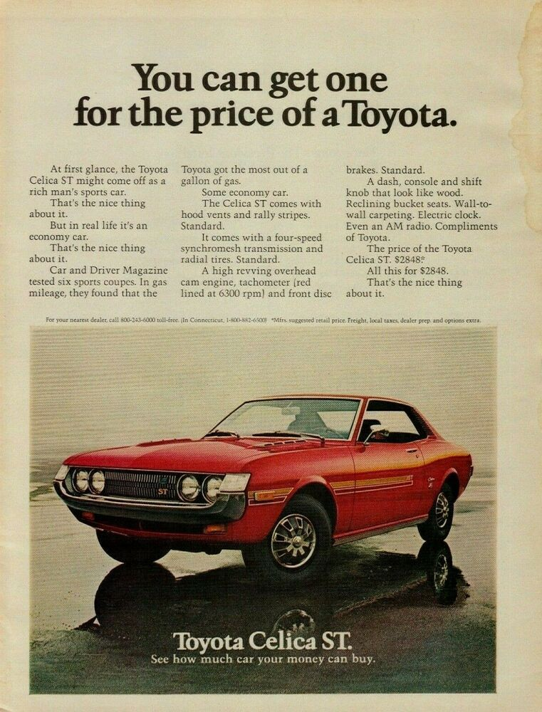 1972 Toyota Celica St Red Car Vintage Color Photo Print Ad Toyota Celica Classic Japanese Cars Toyota