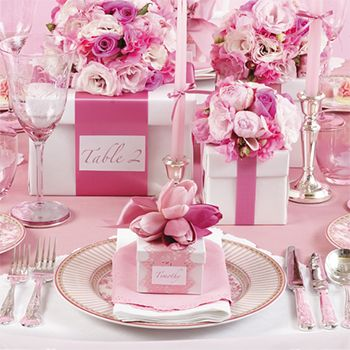 pink party table /// #ribbon #bow #pink #flowers #wedding #event #party #white #elegant #table #setting #tablescape