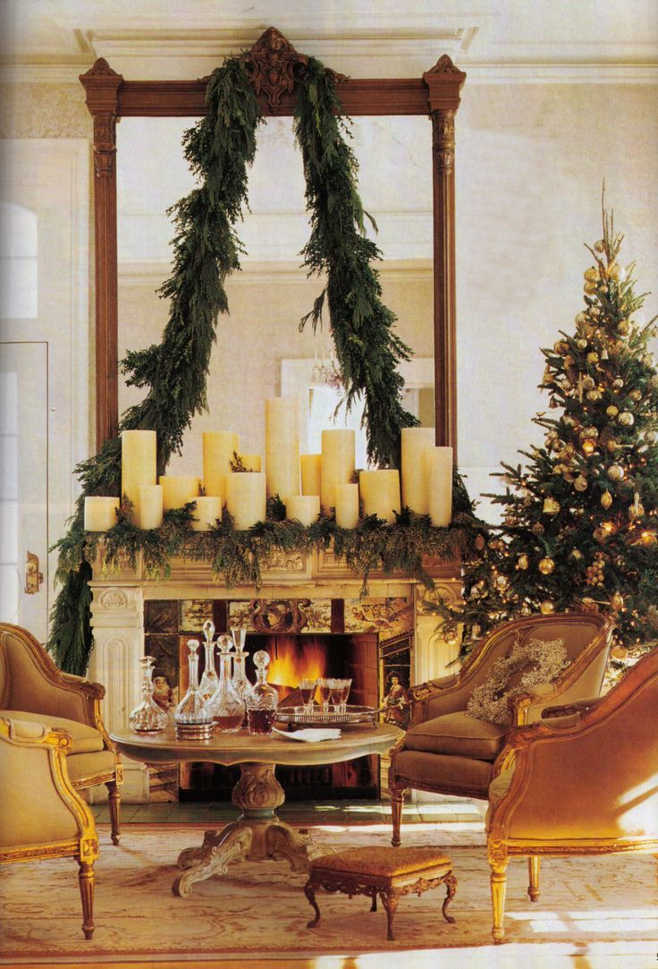 Classic and elegant Christmas mantle with candles