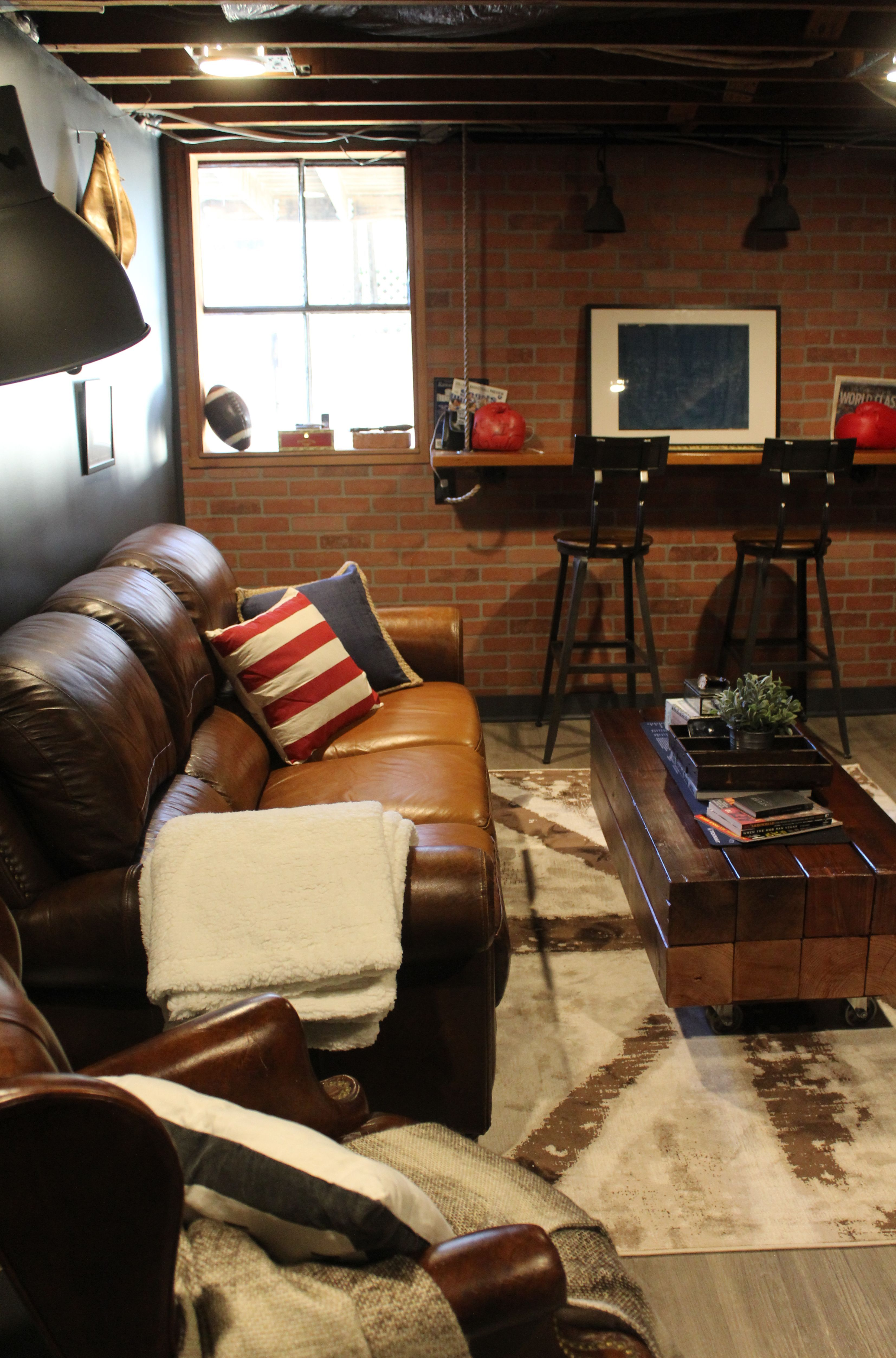 a vintage sports themed basement renovation basement men cave in rh pinterest com