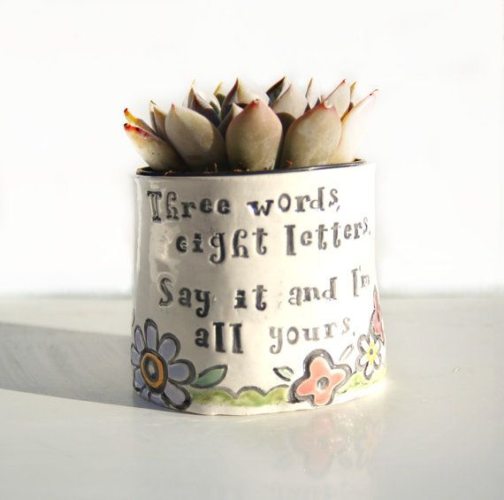Ceramic Planter with Quote about by Dprintsclayful on Etsy ... on