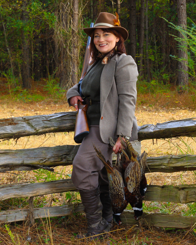 Lady Pheasant Shooter At Royal Flush Shooting Preserve