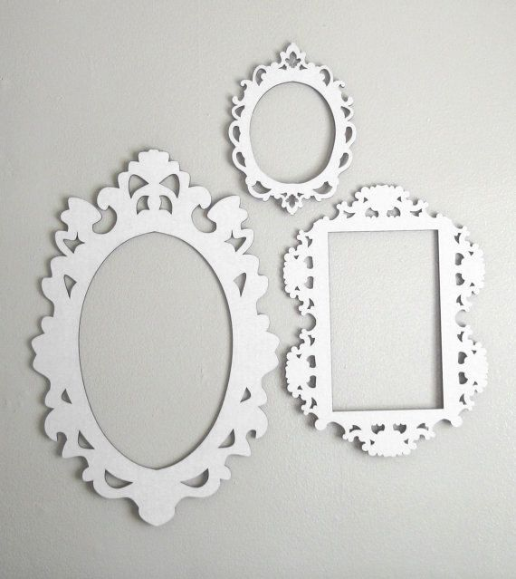 white cardboard frames set of three by fabparlor on etsy 2000 - Diy Cardboard Picture Frame