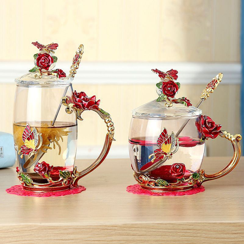 Enamel glass rose flower tea cup with lid and glass liner
