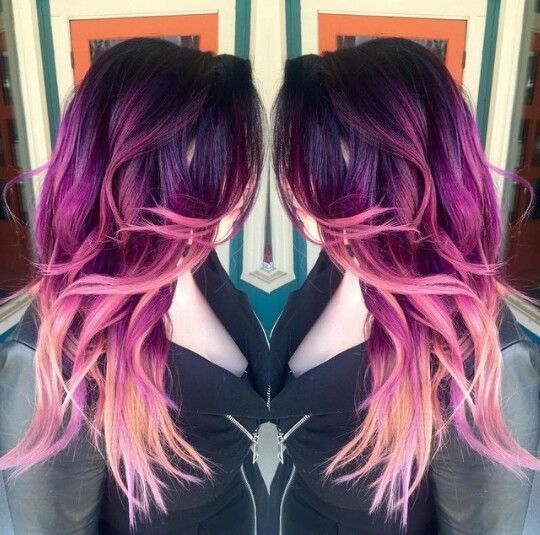 Magenta Purple Pink Ombre Hair Magenta Hair Hair Styles Pink Ombre Hair