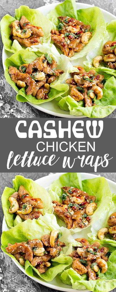 These Cashew Chicken Lettuce Wraps square measure an easy and healthy meal that's packed with flavor! they're sweet and spicy, with simply the correct quantity of crunch from the cashews  chicken is part of Cashew chicken -