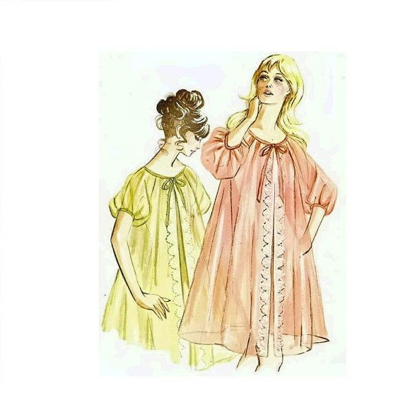 1960s Vintage Peignoir Pattern Misses Sheer Robe by CherryCorners