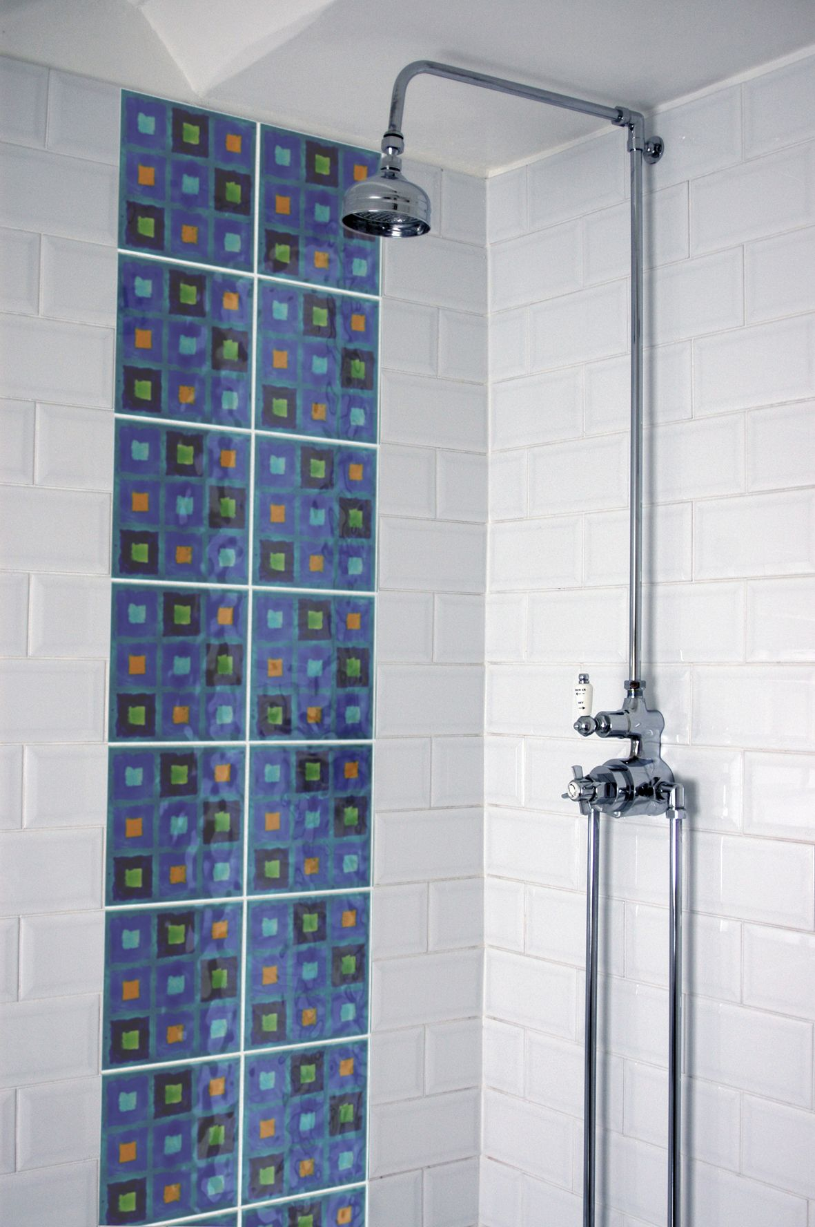 Multi Bright 20x20cm tiles looking fabulous in a shower. | Brightly ...
