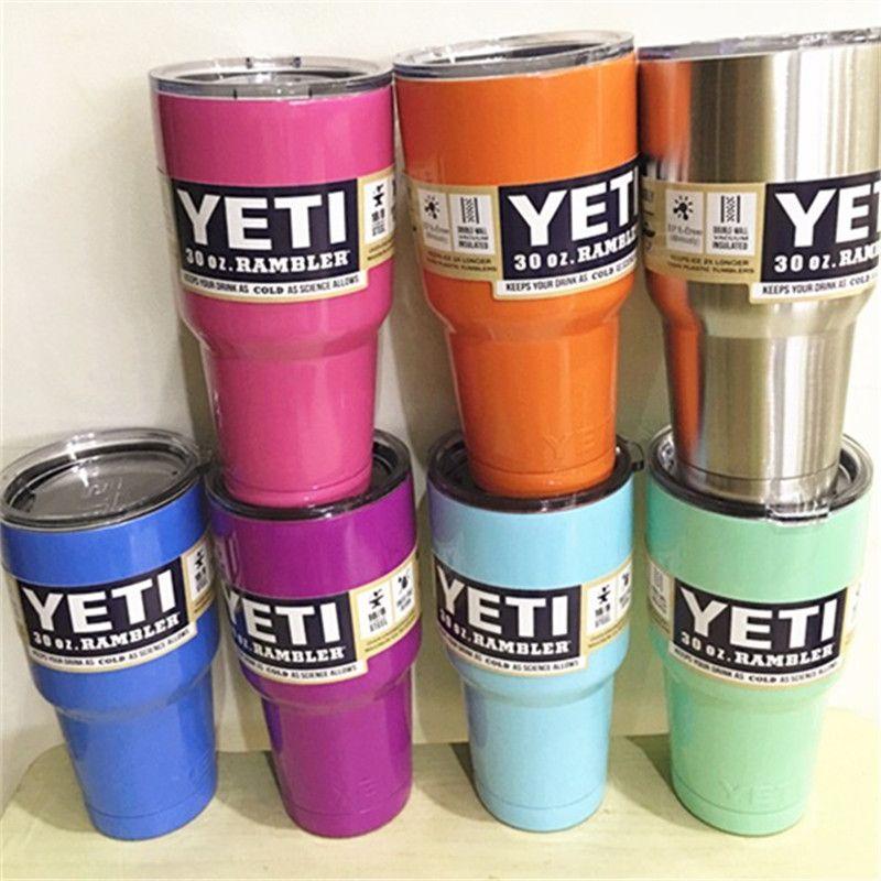 Mejor Quaitly Original Colorido 30 oz/20 oz Vaso de YETI Rambler Tazas Tazas Vaso de Acero Inoxidable de Gran Capacidad
