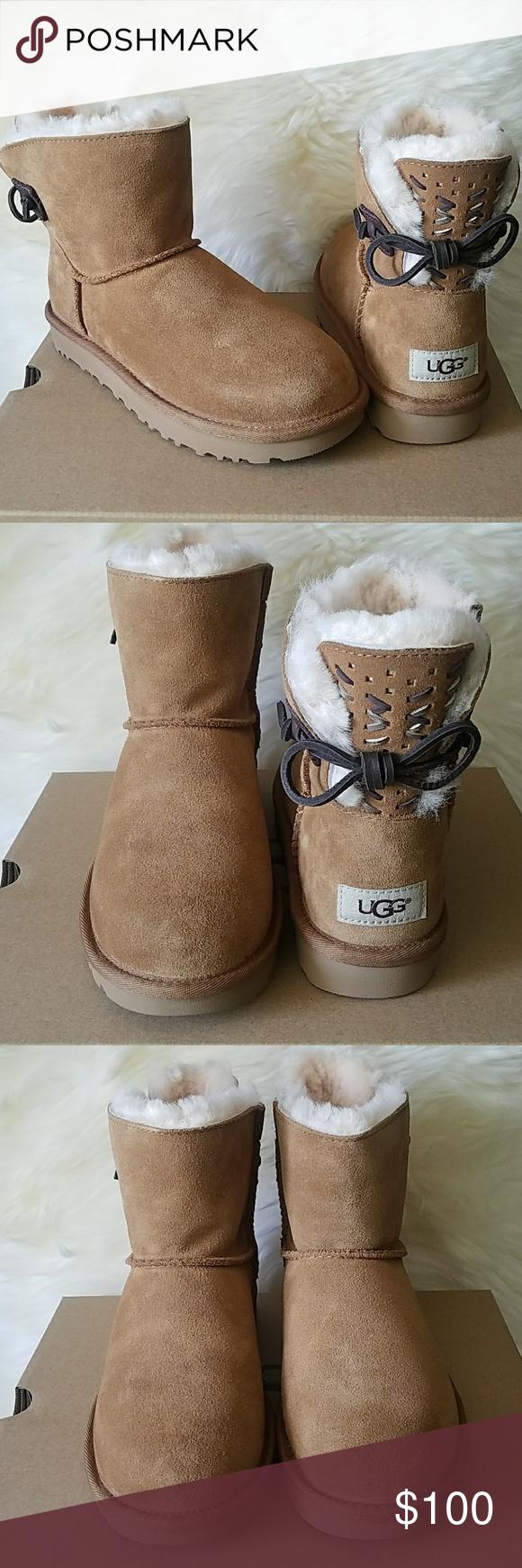 96f0b5568af UGG Adoria Tehuano Bow Chestnut Mini Boots size 6 UGG Adoria Tehuano ...