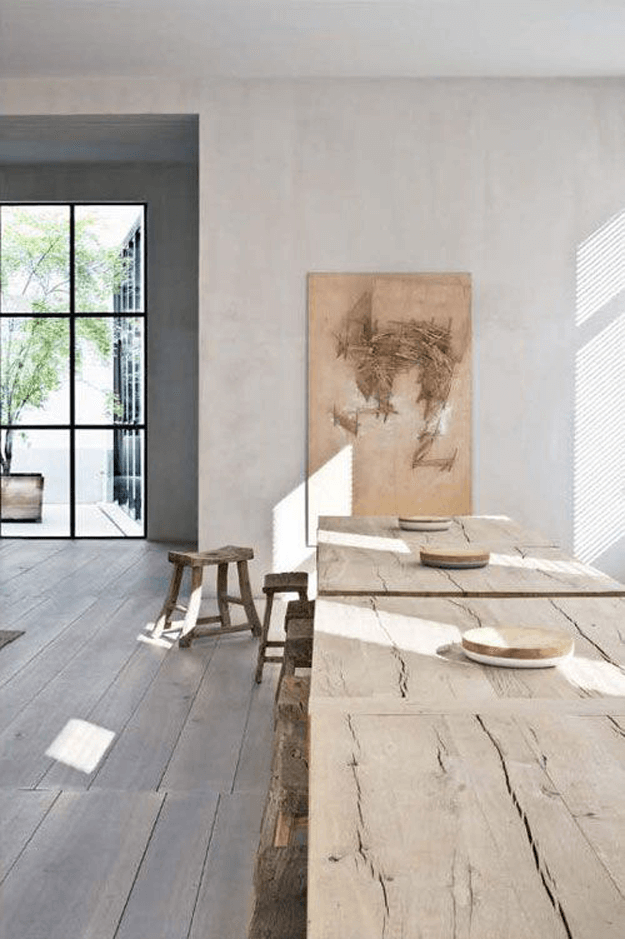 minimalist interior with wood textures gray and