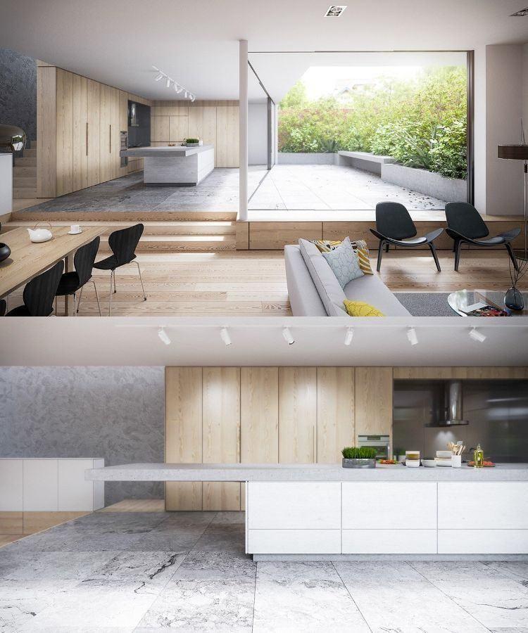 cuisine bois et blanc spacieuse et moderne aménagée avec un grand îlot central et placards en bois