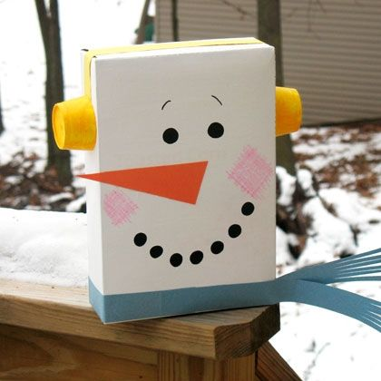 Cereal Box Snowman- Children's Craft :Recycle an empty cereal box into this adorable snowman. This is a fantastic project for an indoor activity on a wintry afternoon.  byAmand...