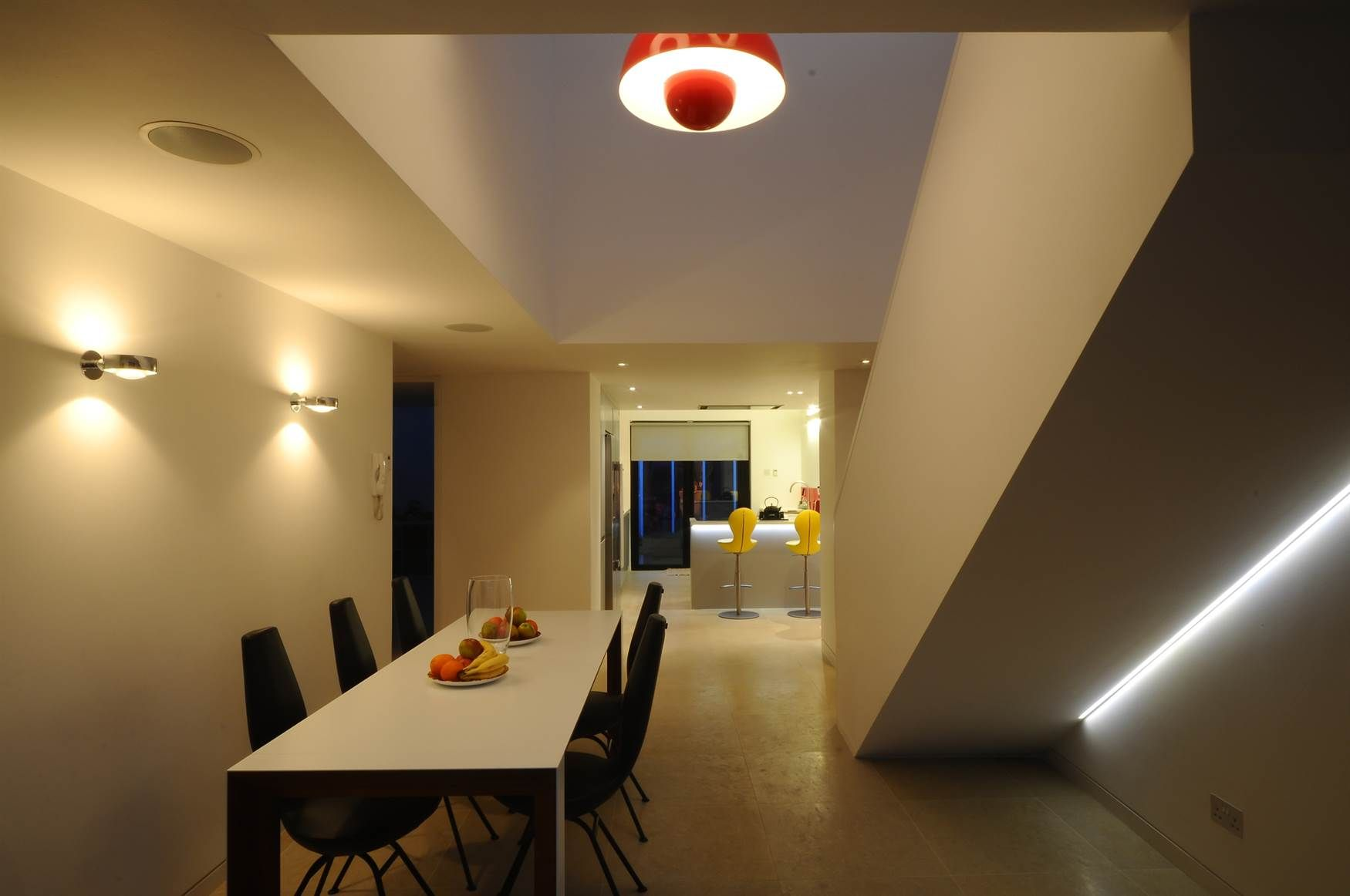 Dining Room Lighting Design Mr Resistor. Wall Lights And LED Tape Under  Stairs.