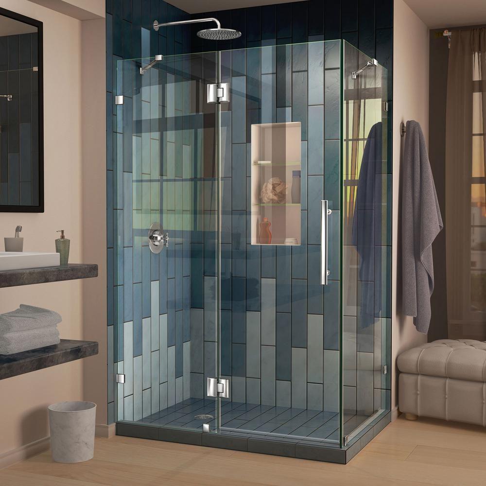 Dreamline Quatra Lux 46 5 16 In X 32 1 4 In X 72 In Frameless Corner Hinged Shower Enclosure In Ch Frameless Shower Enclosures Shower Doors Frameless Shower