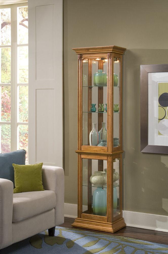 narrow curio cabinet in estate oak pulaski home gallery stores rh pinterest com