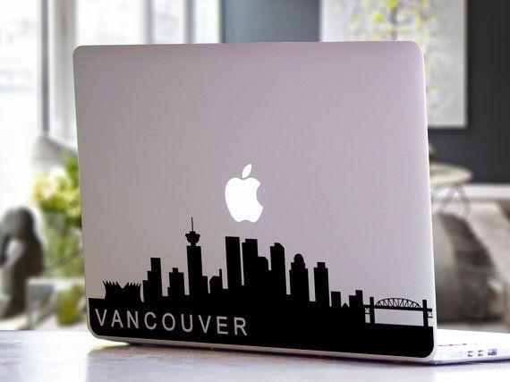 Vancouver British Columbia Canada Skyline City Silhouette MacBook - Custom vinyl decals vancouver bc