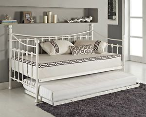 Versailles French Metal Day Bed And Trundle Black White With