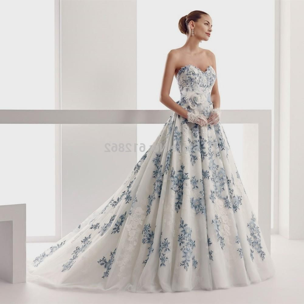 Popular blue and white wedding dressesbuy cheap blue and white