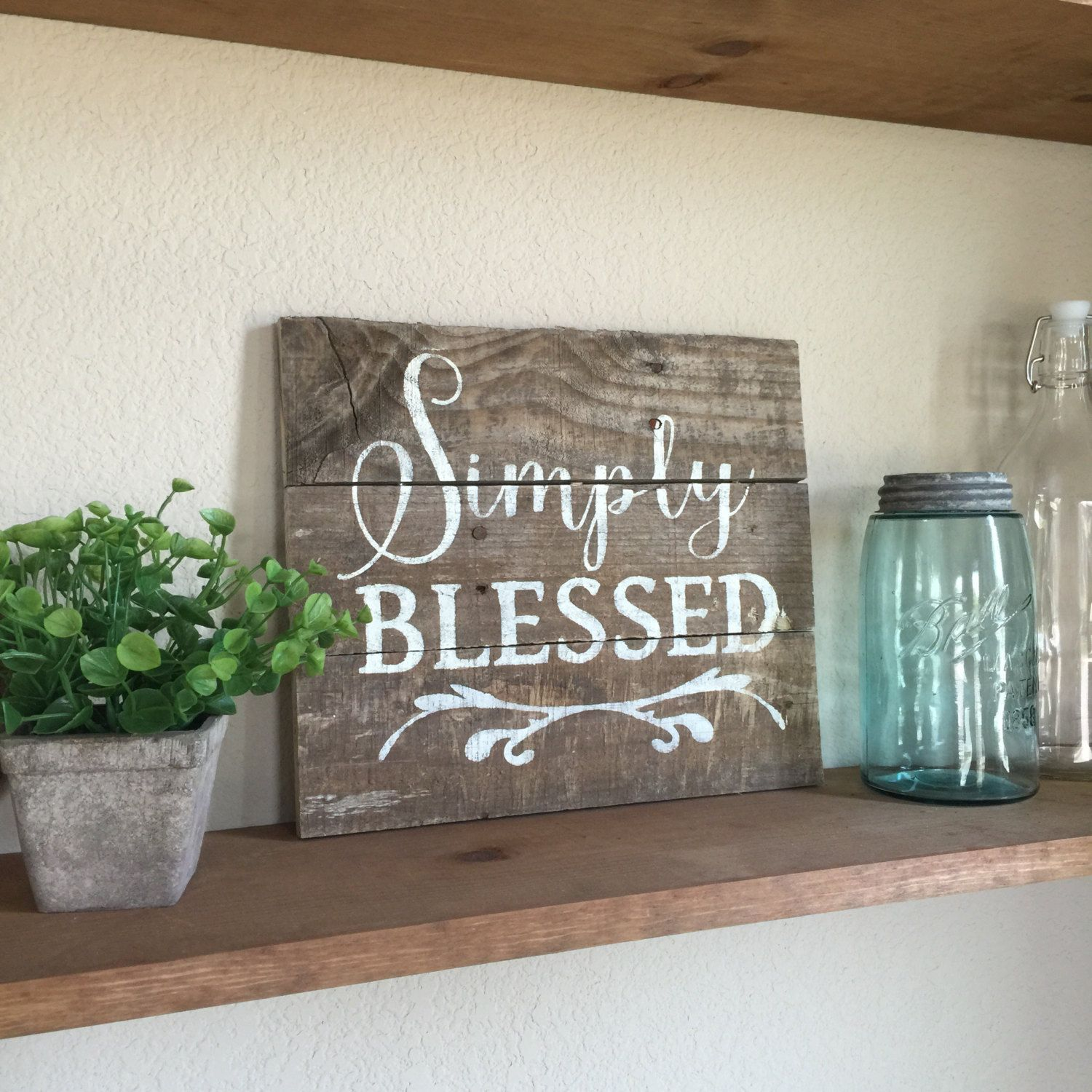 Wooden blessed sign by onelittleowlboutique on etsy signs