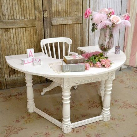 Large Half Circle Office Desk In White $875.00 #thebellacottage #shabbychic  #OOAK