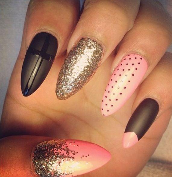 Pink black stiletto nails | Nail art | Pinterest