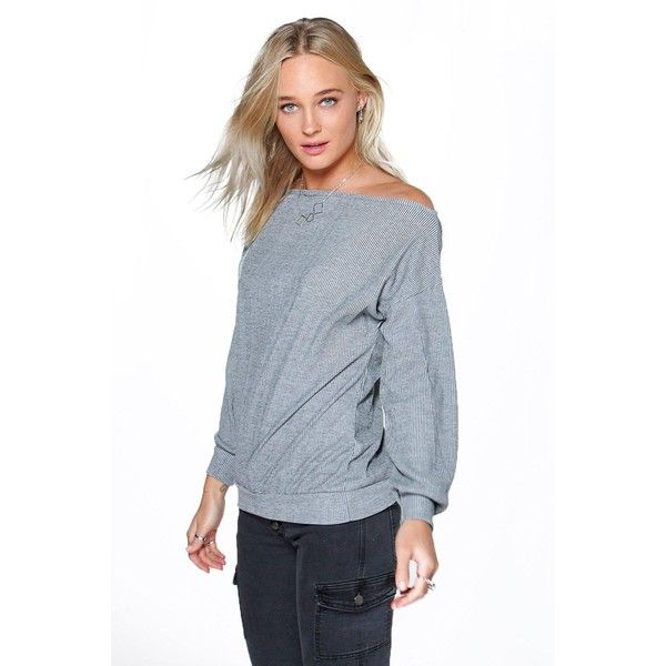 Boohoo Blue Olivia Off The Shoulder Ribbed Top ($24) ❤ liked on Polyvore featuring tops, grey, off the shoulder tops, quilted crop top, gray crop top, off shoulder long sleeve top and long sleeve crop top