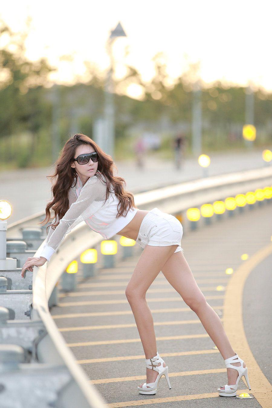 Asian teen hitchhiker