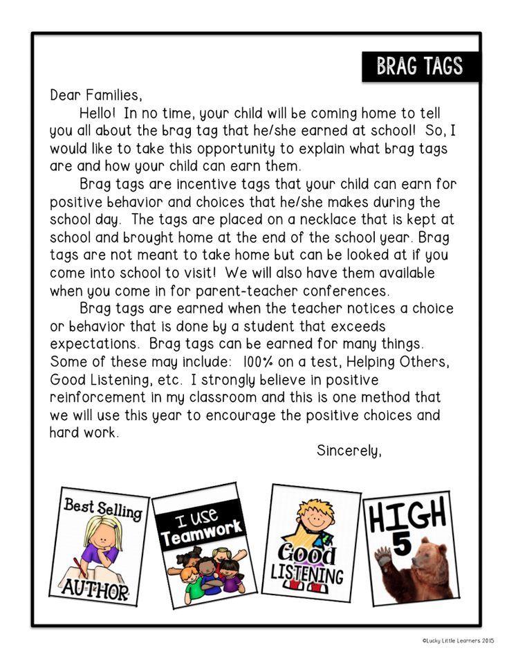 Brag Tag LetterPdf    Classroom Management    Brag