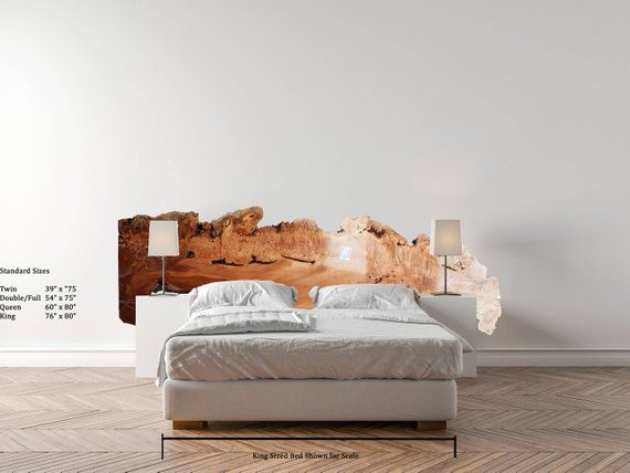 on sale 5e487 ac4cd Natural Live Edge Wood Slab Headboard Custom Rustic Raw ...