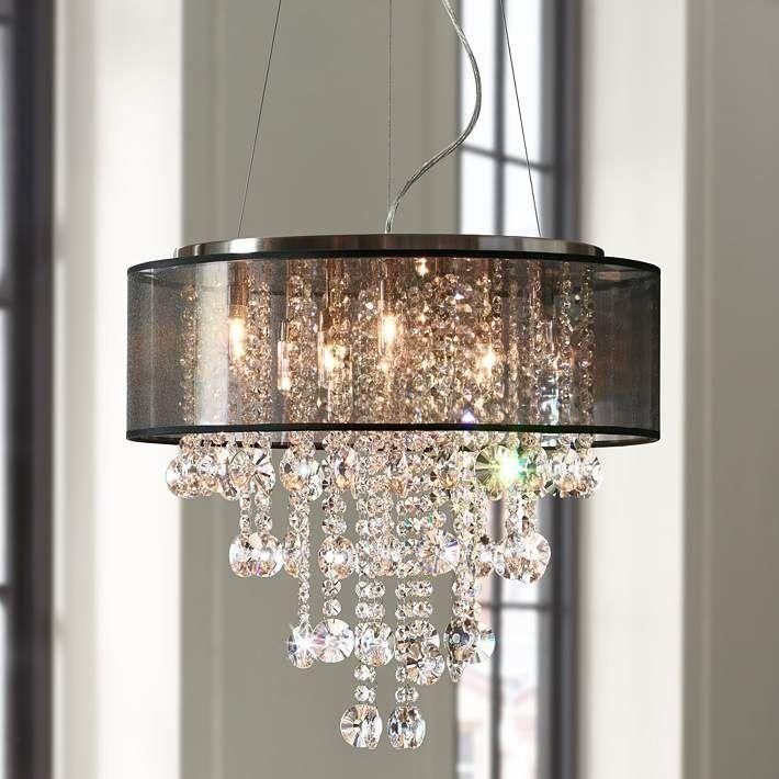 possini euro bretton 22 w brushed nickel crystal chandelier my rh pinterest com