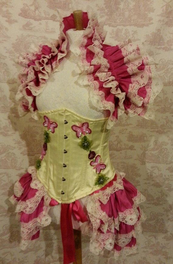 Beautiful  Taffeta  Bustle Skirt  and shrug SET Magenta  Lolita Victorian   By Ophelias Folly