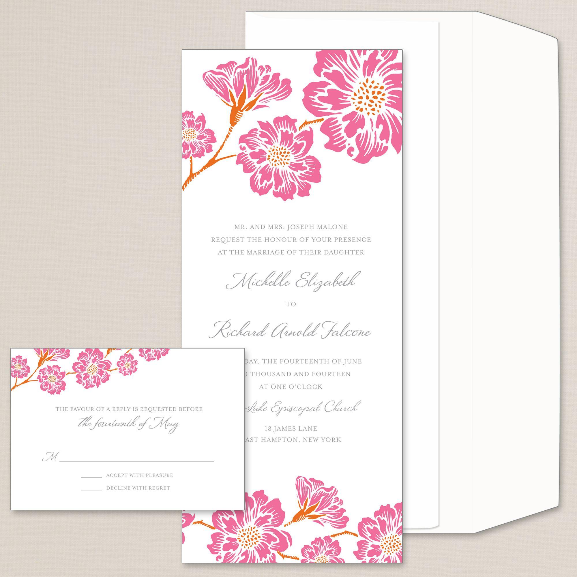 Moss Roses Wedding Invitation