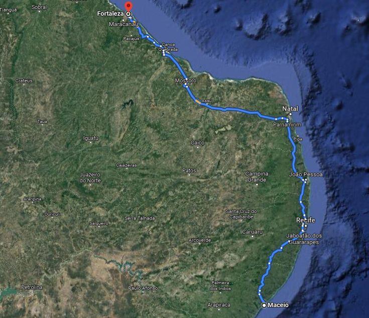 2 mapa viagem nordeste 1000km - rk motors